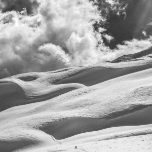Un randonneur dans la neige, Flaine, France