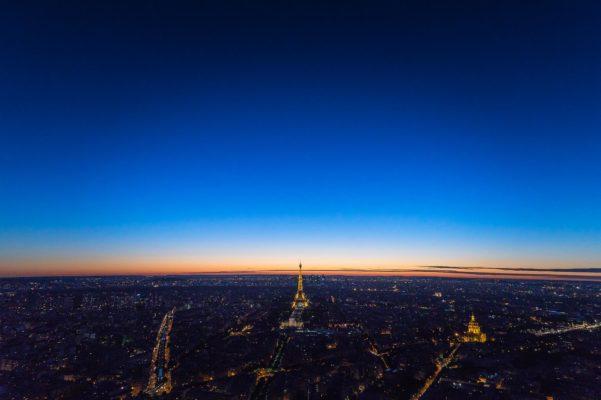 Coucher de soleil du haut de la tour Montparnasse, Paris.